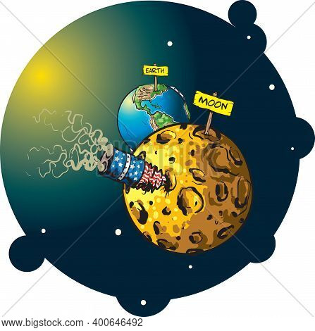 Cartoon Styled Vector Illustration Shows The Moon And The Earth And A Rocket Buried In The Surface O