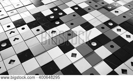 3d Surface Of Squares. Animation. Surface Of Squares Resembling Domino. Flat Surface Made Of Composi