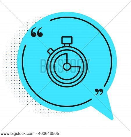 Black Line Stopwatch Icon Isolated On White Background. Time Timer Sign. Chronometer Sign. Blue Spee