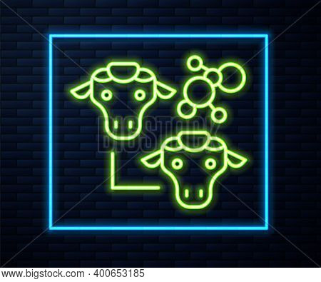Glowing Neon Line Cloning Icon Isolated On Brick Wall Background. Genetic Engineering Concept. Vecto