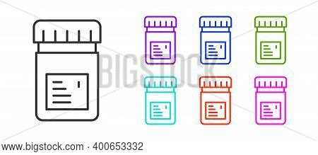 Black Line Biologically Active Additives Icon Isolated On White Background. Set Icons Colorful. Vect