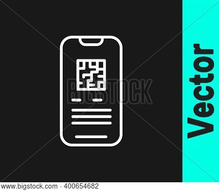 White Line Online Ticket Booking And Buying App Interface Icon Isolated On Black Background. E-ticke