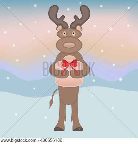 Vector Christmas Illustration With A Deer Holding A Gift In A Hand On A Colored Background With Snow