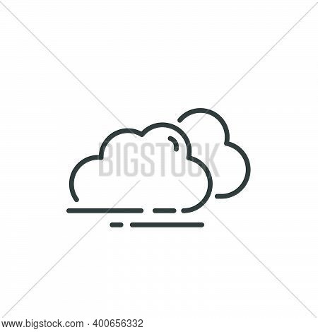 Overcast Thin Line Icon. Clouds On The Sky. Isolated Outline Weather Vector Illustration