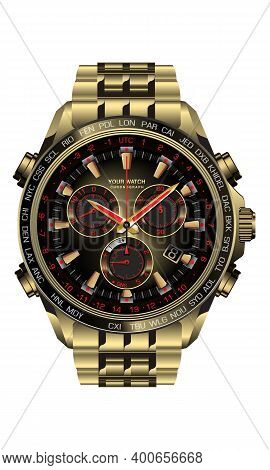 Realistic Clock Watch Chronograph Gold Black Red Design For Men On White Background Vector Illustrat