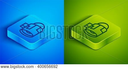 Isometric Line Jet Engine Turbine Icon Isolated On Blue And Green Background. Plane Turbine. Airplan