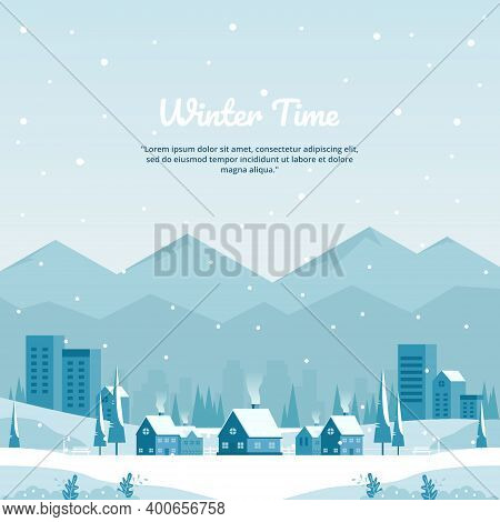 Vector Illustration Of Winter Landscape With City In Mountains And Flat Buildings In Blue, Perfect F