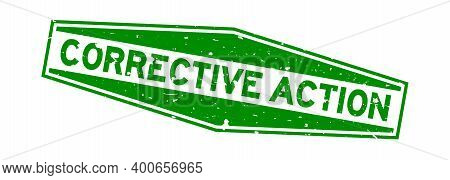 Grunge Green Corrective Action Word Hexagon Rubber Seal Stamp On White Background