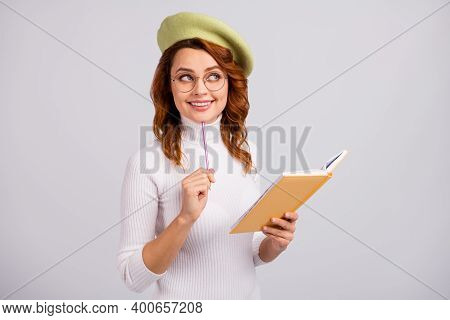 Portrait Of Pretty Brainy Cheerful Cheery Minded Wavy-haired Girl Creating Article Essay Isolated On