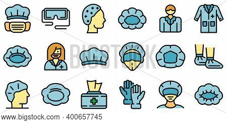 Hair Cover Icons Set. Outline Set Of Hair Cover Vector Icons Thin Line Color Flat On White