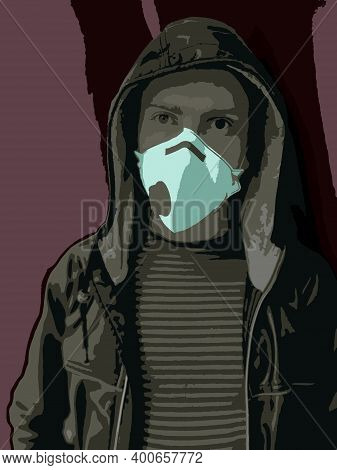 A Young Guy In A Respirator With A Valve Or Mask, Dressed In A Jacket With A Hood, Stands Against A