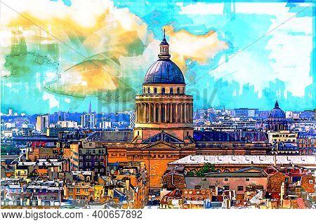 Paris Skyline With Panteon Building. Paris, France. Sketch Illustration.