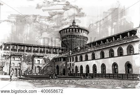 Old Medieval Sforza Castle Castello Sforzesco, Milan, Italy. Sketch Illustration.