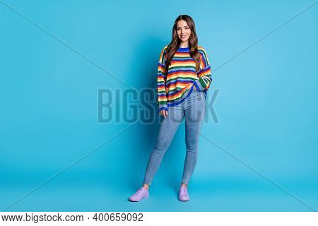 Full Length Body Size View Of Her She Nice Attractive Lovely Pretty Cheery Brown-haired Girl Wearing