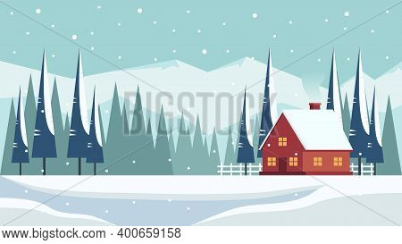 Winter Landscape With A House In The Mountains And Flat Vector Illustration Of Spruce, Perfect For W