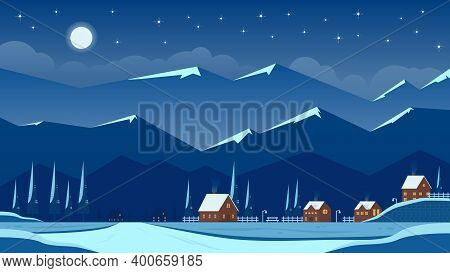 Night Winter Landscape With Village In The Mountains And Flat Vector Illustration Of Houses, Perfect