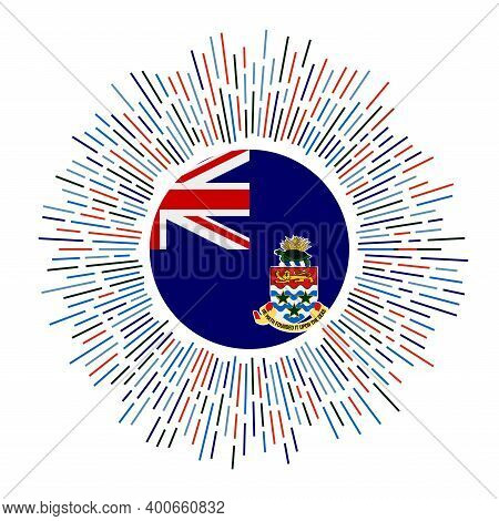 Cayman Sign. Country Flag With Colorful Rays. Radiant Sunburst With Cayman Flag. Vector Illustration