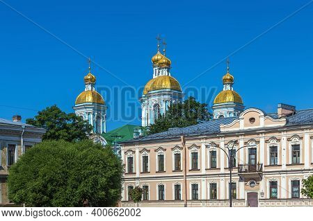 St. Nicholas Naval Cathedral Is A Major Baroque Orthodox Cathedral In  Saint Petersburg, Russia.
