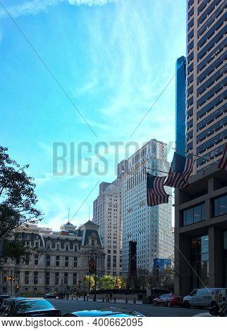Philadelphia, Usa - November 6, 2016: Philadelphia Downtown, Blue Sky