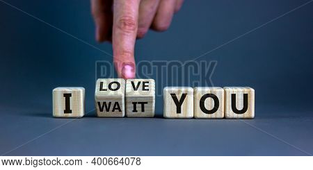 I Love You Symbol. Hand Turns Cubes And Changes The Expression 'i Wait You' To 'i Love You'. Beautif