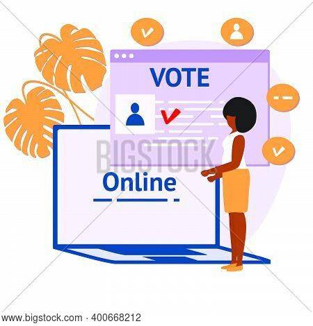 Vector Illustration People Vote Online For Candidate On Laptop Election Campaign Online Choices Poli