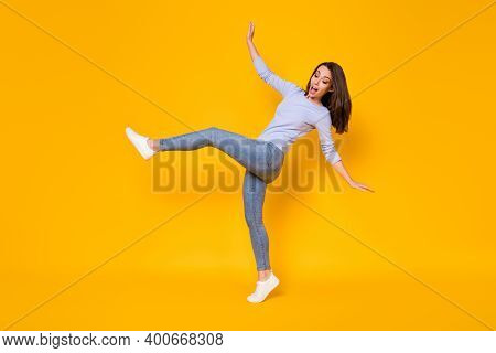 Full Length Body Size View Of Her She Nice Attractive Pretty Funky Clumsy Slender Cheerful Cheery Gi