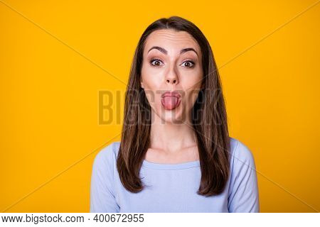 Closeup Photo Of Attractive Pretty Lady Good Mood Sticking Tongue Out Mouth Teasing Boyfriend Foolin