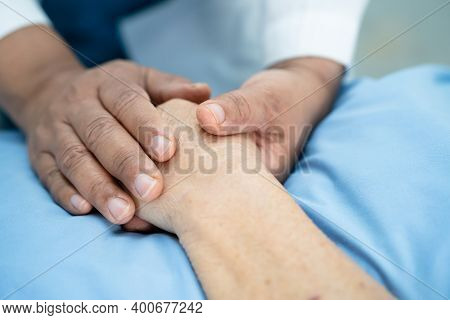 Doctor Holding Touching Hands Asian Senior Or Elderly Old Lady Woman Patient With Love, Care, Helpin