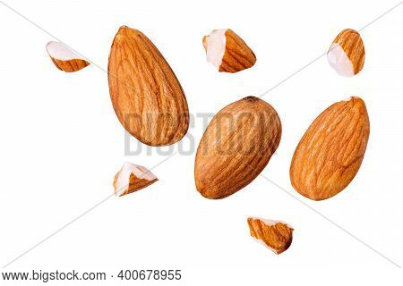 Natural Raw Almond Float Broke On White Isolated