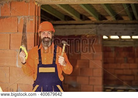 Ready For Challenges. Man Builder Hard Hat. Handyman Workshop. Creativity And Practice. Craftsman Ke