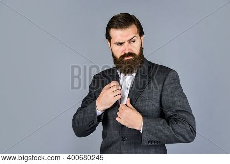 Serious Bearded Businessman. Stylish Mature Man Looking Modern. Mens Jacket Wardrobe. Fashionable Ma