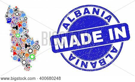 Technical Mosaic Albania Map And Made In Textured Stamp Seal. Albania Map Collage Designed With Span