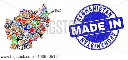 Component Afghanistan Map Mosaic And Made In Scratched Rubber Stamp. Afghanistan Map Mosaic Designed