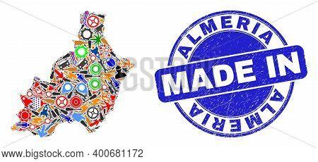 Development Mosaic Almeria Province Map And Made In Distress Rubber Stamp. Almeria Province Map Coll