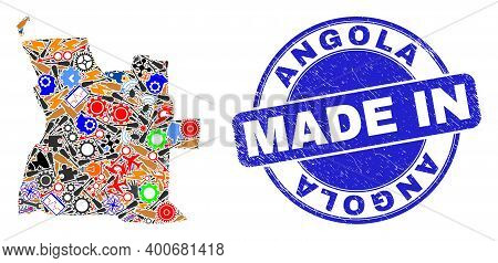 Service Angola Map Mosaic And Made In Scratched Rubber Stamp. Angola Map Collage Created From Spanne
