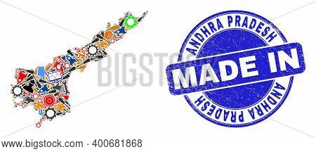 Technical Andhra Pradesh State Map Mosaic And Made In Scratched Stamp Seal. Andhra Pradesh State Map