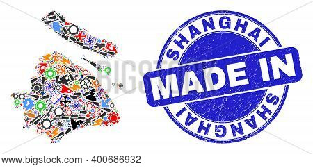 Engineering Shanghai City Map Mosaic And Made In Distress Stamp Seal. Shanghai City Map Composition