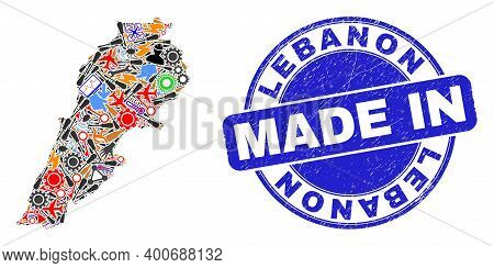 Engineering Mosaic Lebanon Map And Made In Textured Rubber Stamp. Lebanon Map Composition Formed Wit