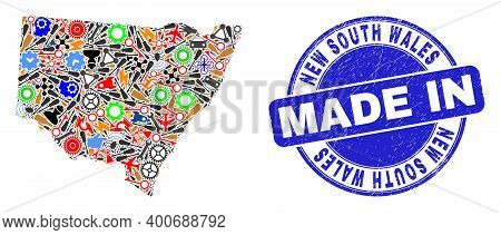 Industrial New South Wales Map Mosaic And Made In Grunge Seal. New South Wales Map Mosaic Composed W