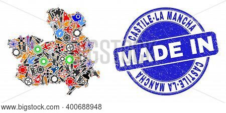 Technical Mosaic Castile-la Mancha Province Map And Made In Grunge Stamp Seal. Castile-la Mancha Pro