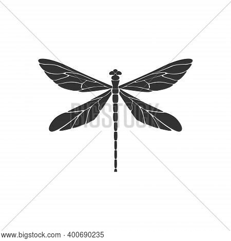 Dragonfly Icon Concept. Black Dragonfly Sign On White Background. Flat Design. Silhouette Icon. Vect