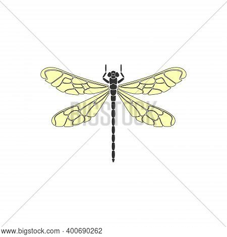 Dragonfly. Black Dragonfly With Yellow Wings On White Background. Flat Design. Silhouette Icon. Vect