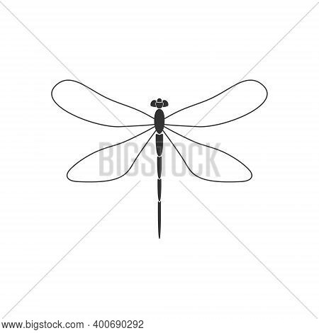 Dragonfly. Black Dragonfly With Linear Wings On White Background. Flat Design. Silhouette Icon. Vect
