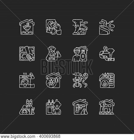 Home Damage Chalk White Icons Set On Black Background. Preventing House Hazards. Flooding, Water Lea