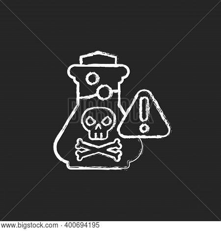 Chemical Poisoning Chalk White Icon On Black Background. Cleaning Supplies. Toxic Household Products