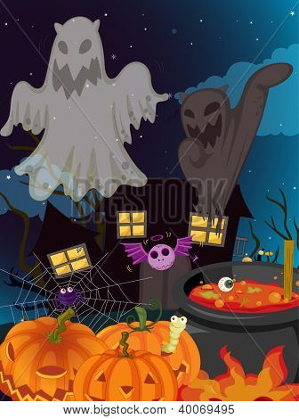 illustration of halloween and ghosts in a dark night poster