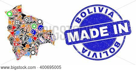 Service Bolivia Map Mosaic And Made In Grunge Seal. Bolivia Map Mosaic Formed With Spanners, Cogs, S