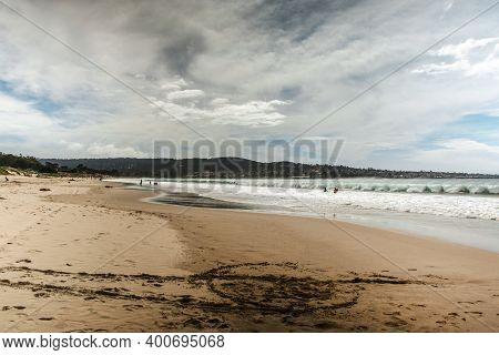 The Pacific Ocean Coast In The City Of Monterey In California. United States Of America. Beautiful B