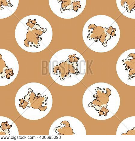 Hand Drawn Cute Rough Collie Dog Breed In Polka Dot Seamless Vector Pattern. Purebread Pedigree Pupp