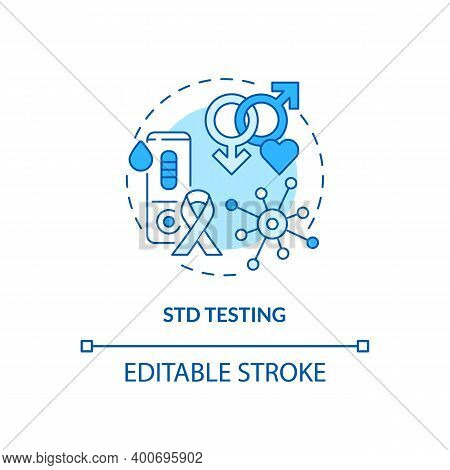 Std Testing Concept Icon. Top Testing Category Idea Thin Line Illustration. Sexually Transmitted Dis